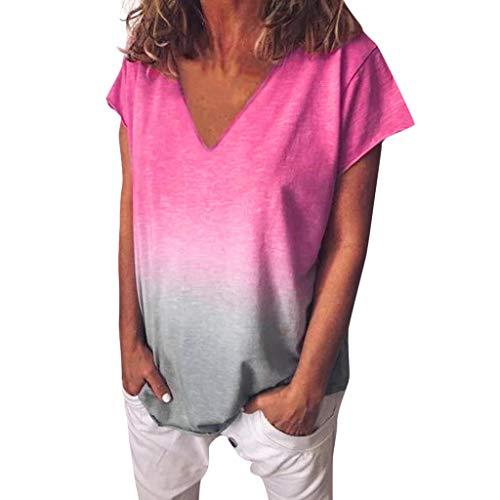 iFRich Damen Kurzarm V-Ausschnitte Farbverlauf Shirt Sommer Lose Shirt Oversize Lose Shirt Tees V-Ausschnitte Loose Oversize Shirt Oberteile