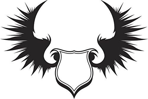 T-Shirt E386 Schönes T-Shirt mit farbigem Brustaufdruck - Logo / Grafik - minimalistisches Design - königliches Wappen mit Flügel Weiß