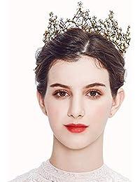 Elegante Novia Redonda Corona Dorada Sombreros De Aleación De Las Mujeres  Europeas De Las Alubias Tapas del Banquete De Boda… 12c1bc2ea9c