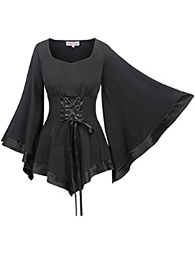 Belle Poque Langarmshirt Damen Schwarz Gothic Bluse Polyester Oberteil BP510