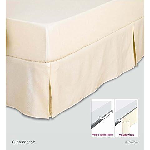 ES-TELA - Cubrecanapé HILO TINTADO RÚSTICO color Crema - Cama de 180 cm. - Cierre con velcro - 50% algodón / 50% poliéster - Medidas: 180 x 190/200 + 33
