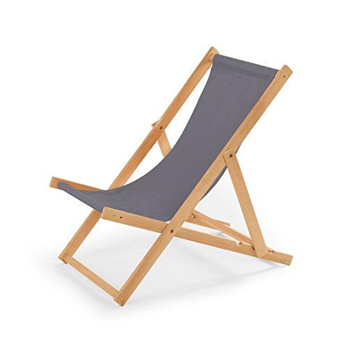 Gartenliege aus Holz Liegestuhl Relaxliege Strandstuhl (Grau) (Liegestühle)