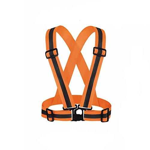 beiguoxia verstellbar Sicherheit Weste Reflektierende Website Arbeit Kleidung Gummiband Jacke für Outdoor Running Radfahren, Orange, Einheitsgröße
