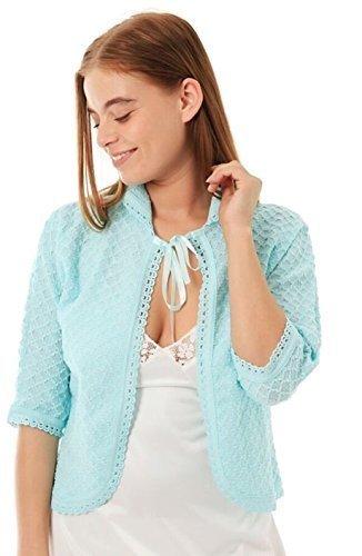 Damen gestrickt traditionell vordere Krawatte Bett Jacke Bolero Style ¾ Länge Ärmel Größen 8-10, 12-14, 16-18, 20-22, 24-26 - Grün, XOS (20-22) -