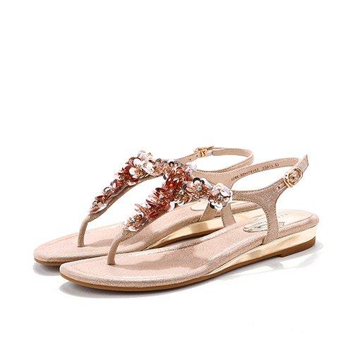 XY&GKFrau Sommer Blumen Toe Sandalen Sommer All-Match Komfort Mode mit flachen Sandalen, komfortabel und schön 38 gold