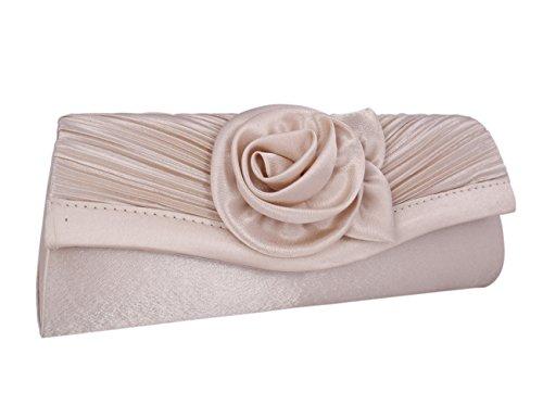 Adoptfade Abendtasche Damen Clutch Tasche Falte Blume Mit Zwei Träger, Champagne