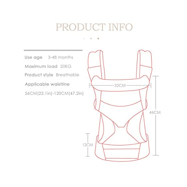 SONARIN 4 in 1 Breathable Baby Carrier,3D Breathable mesh,Sunscreen Hood,Ergonomic,for Newborn to Toddler(3-48 Months),Maximum Load 20kg,Front Facing Baby Carrier,Suitable for Summer(Pink) SONARIN Applicable age and Weight:3-48months of baby, the maximum load:20KG, and adjustable the waist size can be up to 47.2 inches (about 120 cm). Material:designers carefully selected soft and delicate breathable mesh.Enhanced breathability,Soft machine wash,do not fade,ensure the comfort,high strength,safe and no deformation,to the baby comfortable and safe experience. Description:Patented design of the auxiliary spine micro-C structure and leg opening design,natural M-type sitting.Adjustable back panel that grows with baby and offers head and neck support with sleeping hood that provides UV50+ sun protection. 6