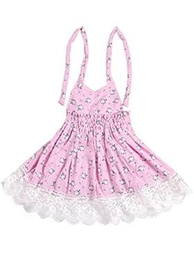Vestido Niña SMARTLADY Niñas Princesa floral Vestido de cuello hálter