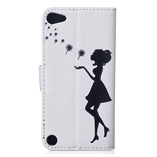 iPhone SE Custodia, iPhone 5S Custodia in pelle, custodia a portafoglio per iPhone SE, Tebeyy Colorful Premium Fiore Animal Cartoon Pattern Art dipinto in pelle PU funzione Flip Magnetica Custodia Pro Dandelion and Girl