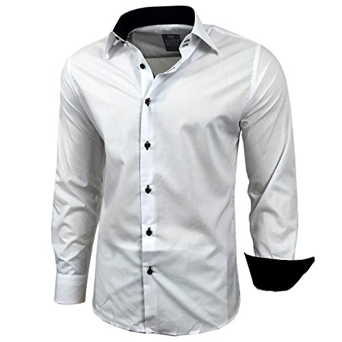 Kontrast Business Anzug Freizeit Polo Slim Fit Figurbetont Hemd Langarmhemd R-44, Farbe:Weiss/Schwarz;Größe:S (Weiss Anzug Herren)