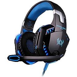 ckground Casque G2000 3.5mm Gaming avec Micro, Casque LED Lumière Stéréo Surround Ecouteur pour PS3 PS4 Xbox One 360