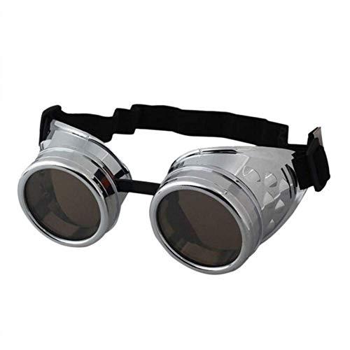 YHEGV Brille Steampunk Brille Herren Vintage Retro Schweißen Punk Gothic Sonnenbrille Retro Steam Punk Brille Sonnenbrille