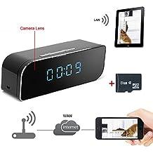 TEKMAGIC Reloj Cámara Espía Inalámbrica WiFi 8GB Detective de Movimiento Interior Grabadora de Vídeo Apoyar iPhone Android APP Vista Remota con 160 ° Ángulo de Visión Amplio 1280x720P