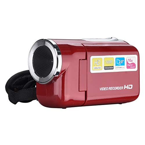 JIJI886 HD-Camcorder,2.0 Zoll 720P 16xOptischer Zoom Digitalzoom Handheld Digital Camera 1600 Megapixeln Digitalkamera Video Camcorder Videokamera Kamera für Reisen Camping (Rot)