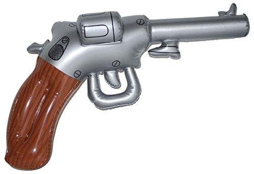 Knut Odegaard - Aufblasbare Party Deko Pistole Revolver Hängedeko Mottoparty Wilder Westen, 50cm, Mehrfarbig