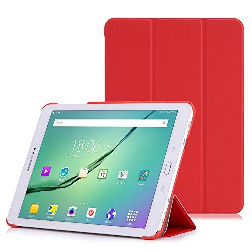 MoKo Samsung Galaxy Tab S2 9.7 Case - Ultra Sottile Leggero Supporto Custodia per Samsung Galaxy Tab S2 9.7 (SM-T810 SM-T815 / SM-T819N SM-T813N), Rosso (con Auto Sveglia/Sonno)