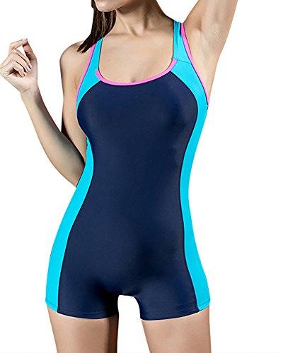 MISSMAO Badeanzug Sportbadeanzug Schwimmanzug Bademode Damen Einteilig mit Verlängertem Bein Elastisch EU 38 Blue & Lake Blue