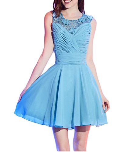 Ikerenwedding Damen Empire Kleid Blau Blau Blau - Hellblau