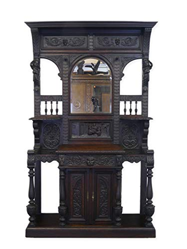 Antike Fundgrube Garderobe Wandgarderobe Flurgarderobe Historismus um 1880 Eiche massiv (9069)