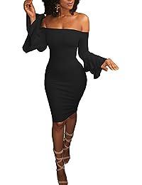 Vestido de Fiesta Mujer Corto Elegante Sin Hombro Bodycon Midi Vestido de Noche Fiesta