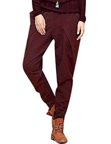 Youlee Femmes Printemps Élastique Taille Maigre Harem Pantalon Rouge