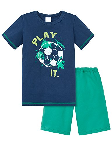 Schiesser Jungen Zweiteiliger Schlafanzug Kn Anzug Kurz, Blau (Dunkelblau 803), 98 (Herstellergröße 098)