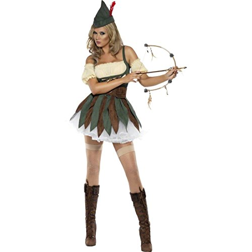 Amakando Ragazza Arciere Costume Robin Hood per Donna M 44/46 Travestimento Femminile Elfo Mascheramento Medievale Vestito Donne viandante boschi Abito Festa in Maschera Criminale Femmina
