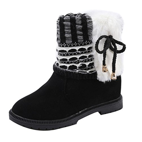 Bottines Femme, Somesun Bottes Femme Bottes Bowknot Hiver Bottes En Toile Chaude Chaussures Plates Martin Black