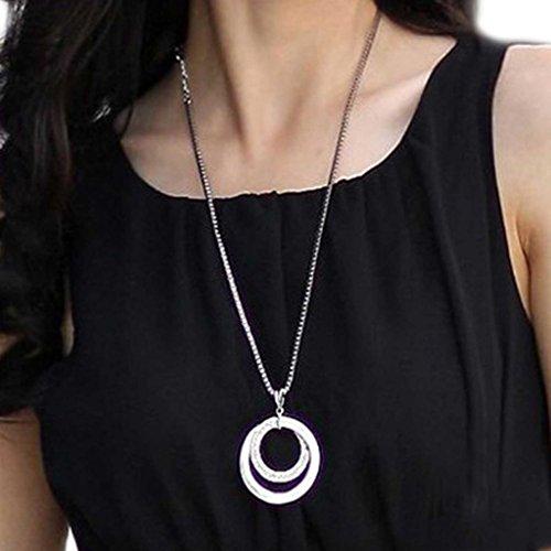 HuntGold 1 X Frauen Doppel-Kreis-Anhänger Kette Temperament lange Strickjacke Halskette (Silber)