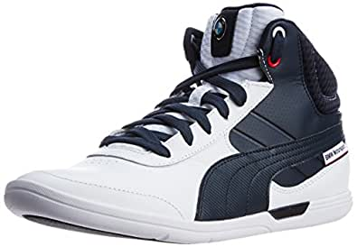 Puma Men's BMW MS MCH Mid White-Bmw Team Blue Leather Running Shoes - 13UK/India (48EU)