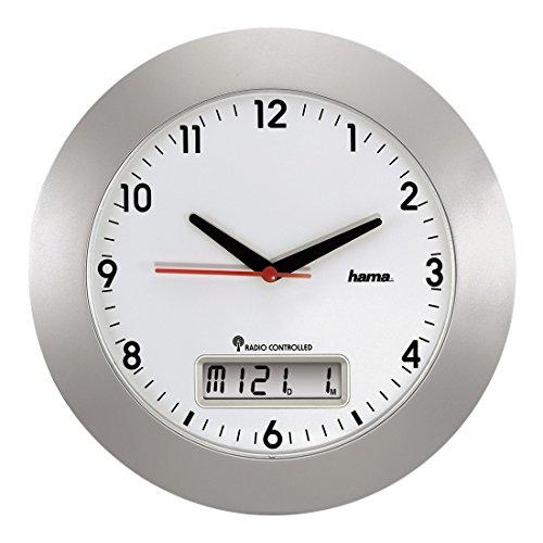 Hama Funkwanduhr mit digitalem Kalender, 30 cm, silber,'RCW500'