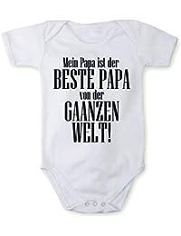 Fabio Farini kurzarm Baby-Body für Mädchen und Jungen, 100% Baumwolle, Bester Papa in verschiedenen Sprachen