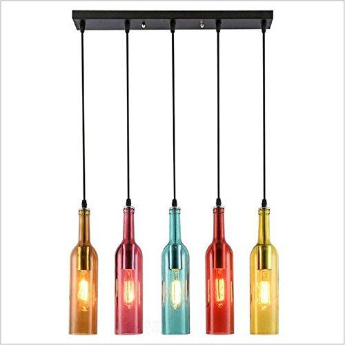 Suspensions Creative restaurant café bar bar bouteille de vin décoration pendentif éclairage verre personnalité couleur rétro lustre, amber