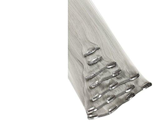 Remy Clip In Extensions Set 100% Echthaar 7 Teilig 70 Gramm Hochwertige Haarverlängerung und Haarverdichtung in 40cm Länge Clip-In Hair Extension Nr.650 Grau