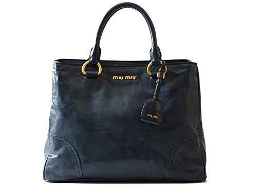 Miu Miu Tasche (Miu Miu - RN1092 - Damen Tasche - Vitello Shine - Doppel Zipp - Denim - Bag - (LxBxH) 35/15/26cm)
