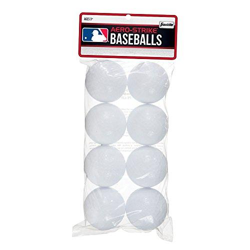 Franklin Sports Aero-Strike Baseballbälle aus Plastik, Packung mit 8 Bällen, (70 mm) -