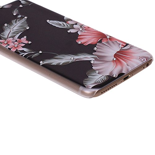 iPhone 7Hülle, Diamant Strass Bling bedruckt Blumenmuster Hard Case Cover Skins für Apple iPhone 7(11,9cm) White Red Tulip Feather Leaves