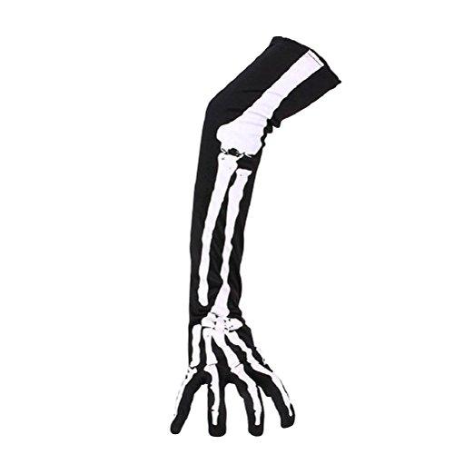 Tinksky Guantes esqueleto Halloween guantes largos