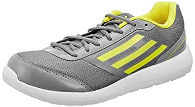 adidas Men's Lunett M Grey, Vivid Yellow and White Mesh Running Shoes - 11 UK