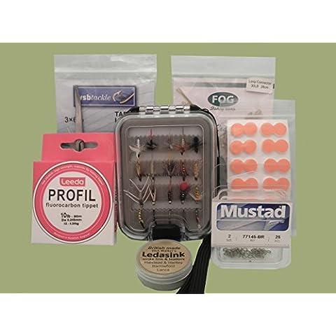 Pesca con la mosca, confezione regalo di mosche e accessori, confezione regalo disponibile (Set3), No Gift Box - Pesca A Mosca Indicatori Sciopero