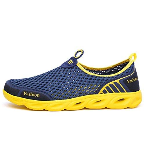 Uomo traspirante Scarpe da ginnastica Popolare Scarpe casual Scarpe da corsa formatori Leggero Scarpe da viaggio blue and yellow