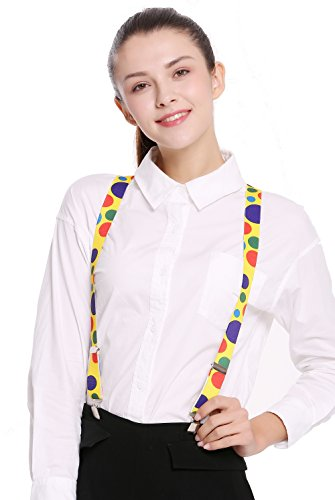 DRESS ME UP - BB-038-clown Hosenträger Suspenders Karneval Halloween gelb bunt Punkte Clown (Varieté Zirkus Kostüm)