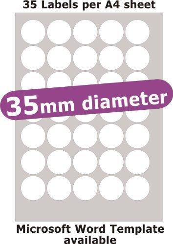 35mm diametro rotondo , 175 Etichette , Opaco Cartoncino Bianco , 5 A4 Fogli , Laser Copiatrice Getto d'inchiostro Adesivi