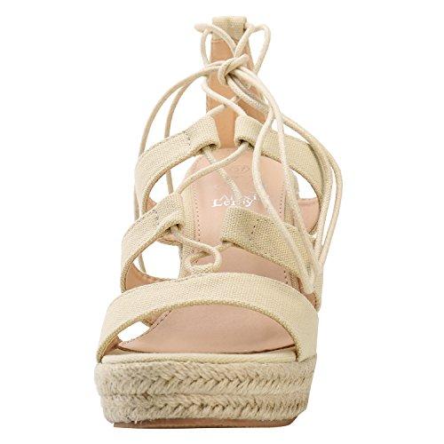 Alexis Leroy Damen Knöchelriemchen Sandalen Espadrilles mit Keilabsatz und Schnürung Aprikose