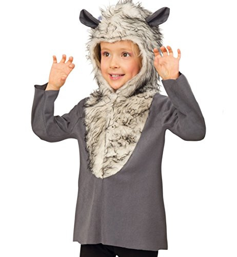 04 Oberteil mit Kapuze in Felloptik 1tlg. Tierkostüm Jacke Kleinkind Kinder - Kostüm Fasching (Dumme Kostüm)