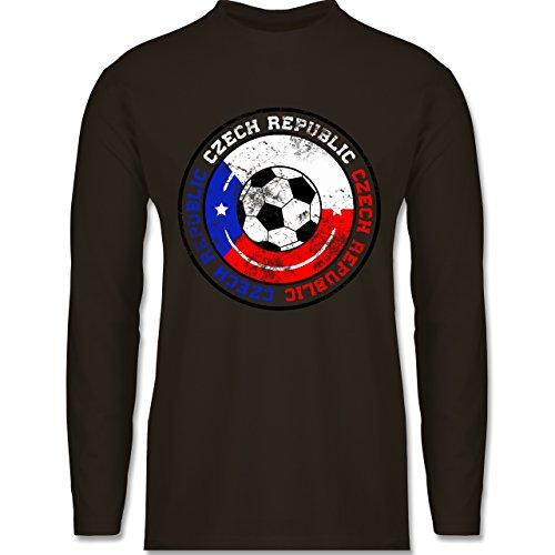 EM 2016 - Frankreich - Czech Republic Kreis & Fußball Vintage - Longsleeve / langärmeliges T-Shirt für Herren Braun
