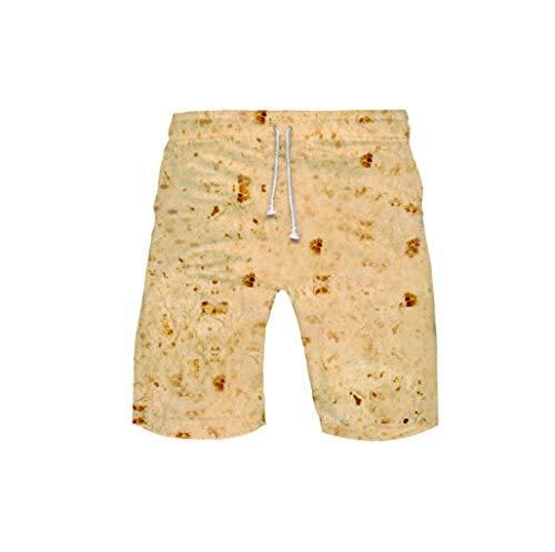 ??TTLOVE Damen Herren Kurze Hose Mexican Burrito Biscuits Digital Print Hosen Hot Pants Sommer Shorts Hohe Taille Hose (Beige,XXXL)