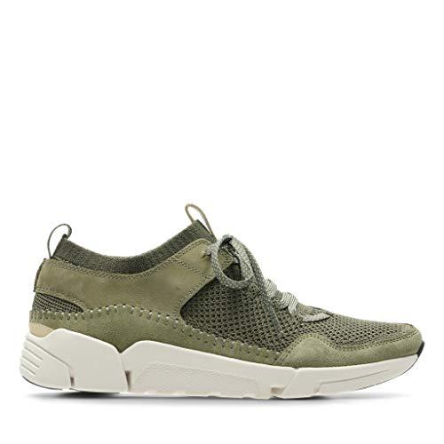 Clarks Herren TriActive Up Sneaker, Grün (Olive Combination), 44.5 EU