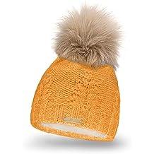 Mikos Bonnet fourré Hiver pour Femme - Bonnet tricoté avec Torsades et Gros  Pompon en Fausse 6c9128fab3c