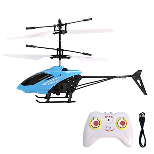Mini RC Infrarot Induktion Hubschrauber HARRYSTORE Fliegend Blinken Licht Flugzeug Spielzeug (Blau)
